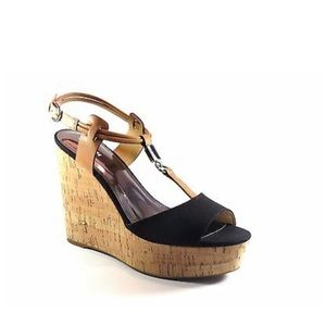 Coach Black Canvas Ginger Leather Cork Wedges
